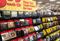 Typical CD selections in a music store